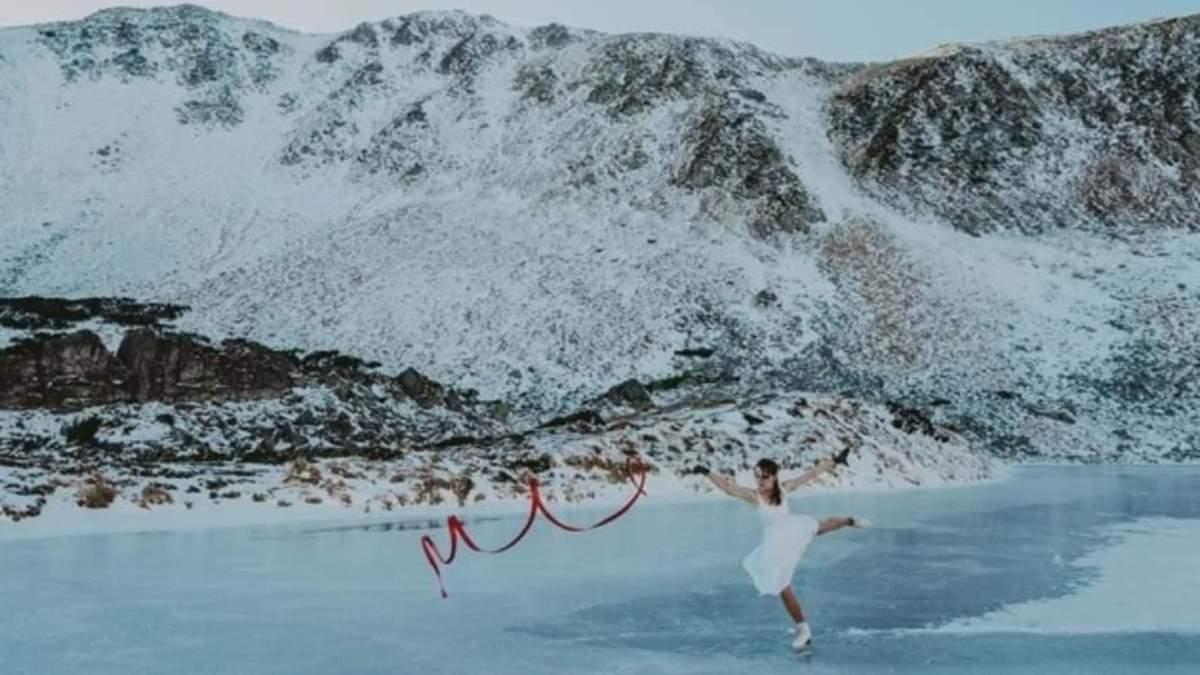 Красота и грация: украинка станцевала на коньках на замерзшем Бребенескуле