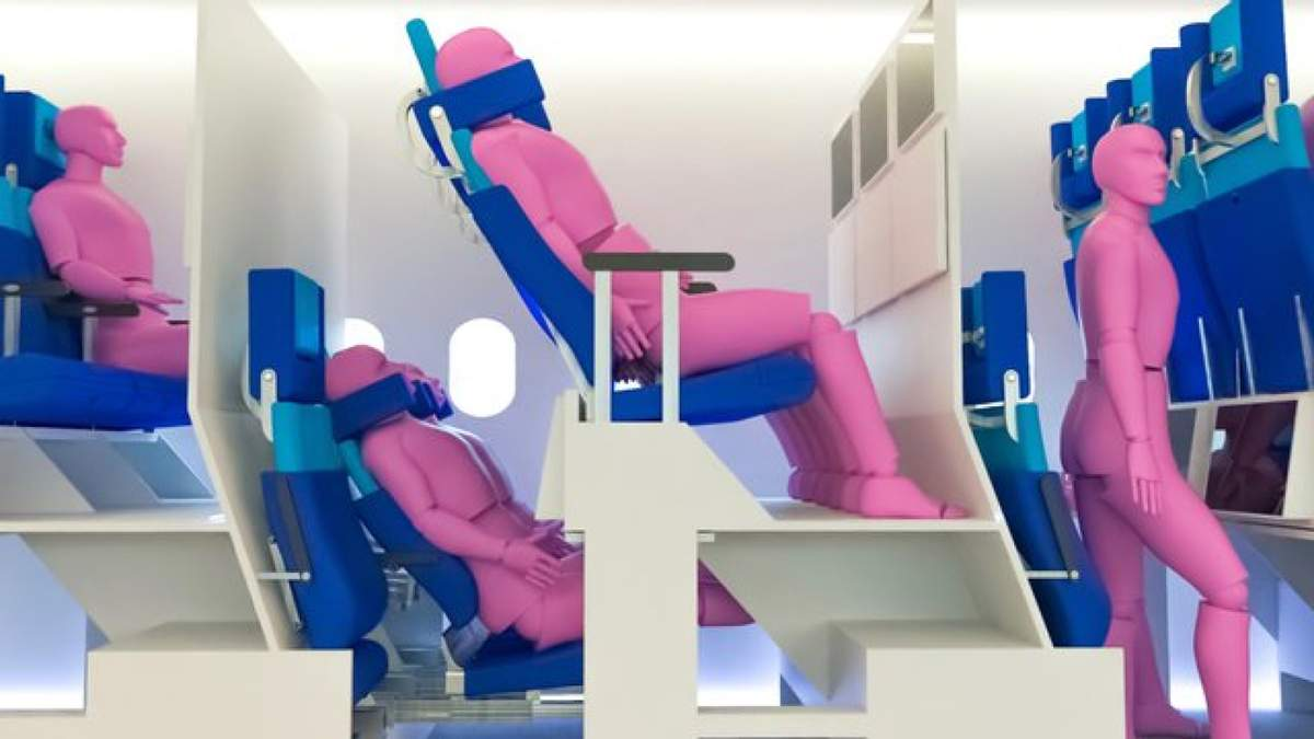 Двухуровневые кресла в самолете