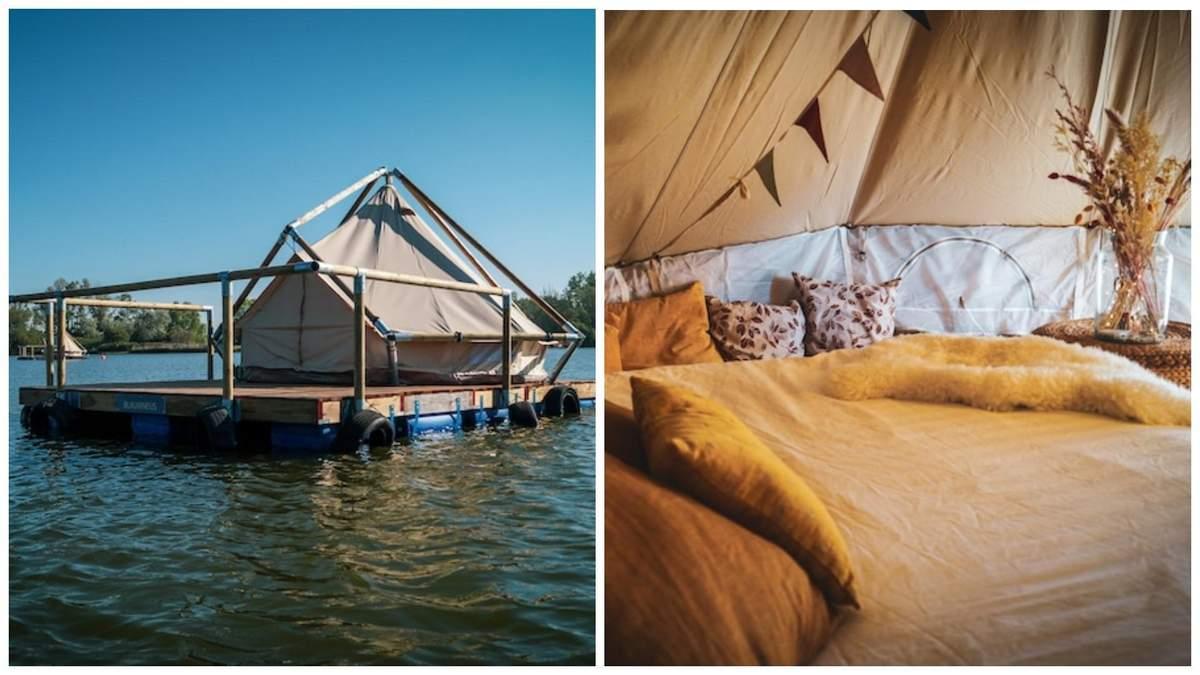 Готель на плотах посеред озера в Бельгії