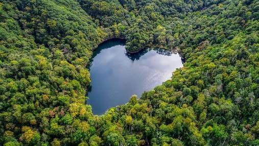 Романтика, створена природою: неймовірні кадри озера Японії у формі ідеального серця